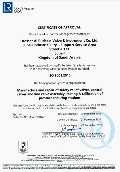 Lloyds iso/ts 29001-2010 [Certificate of Approval]
