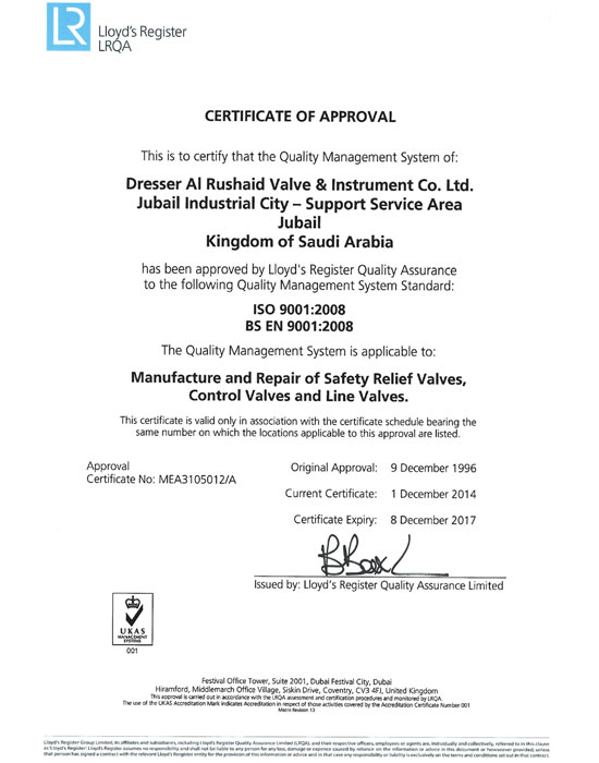 Lloyds iso 9001-2008 [Certificate of Approval]