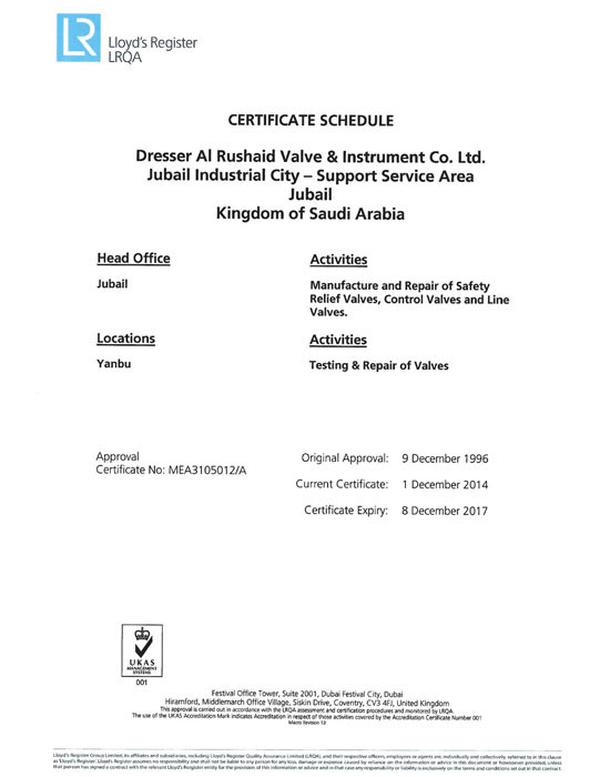 Lloyds iso 9001-2008 certificate schedule