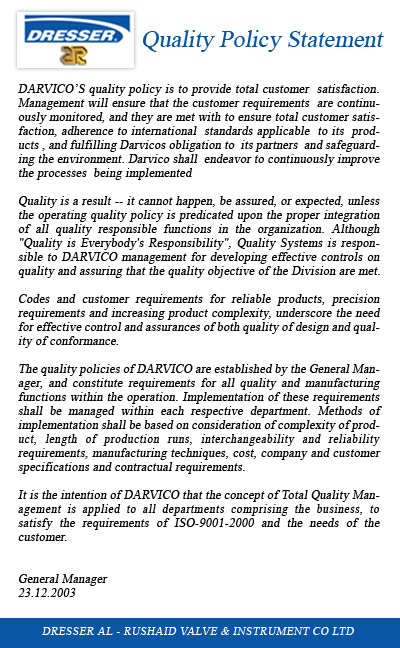 Darvico Quality Policy